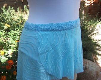 All Stretch Short Wrap Skirt for Dancers in Aqua Blue Wavy Mesh