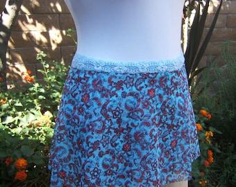 Ballet Wrap Dance Skirt in Aqua Blue and Dark Red Paisley Print
