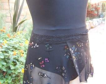 Ballet Wrap Skirt for Youth/Child  Dancer in A Sparkle Floral Pattern on Black