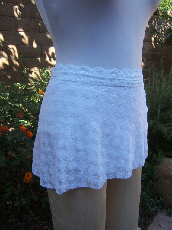 All Stretch Short Wrap Skirt for Dancers in Small White Daisy Lace