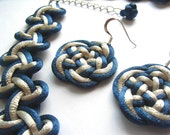Necklace with 925 Silver Earring Set - By Chinese Knot & Celtic Knot - Blue, Silvery Gray