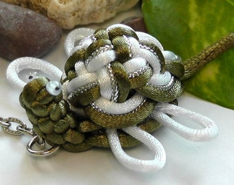 Chinese Knot Sea Turtle - olive green mix - as Keychain, Phone Charm, Bag Hang or Table Decoration