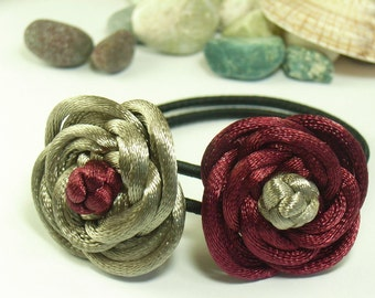A pair of Rose Ponytail Holders, handmade by Chinese knot - Maroon and Brownish Gray