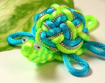 Chinese Knot Sea Turtle Keychain - Neon Green mix - as Keychain, Phone Charm, Bag Hang or Table Decoration