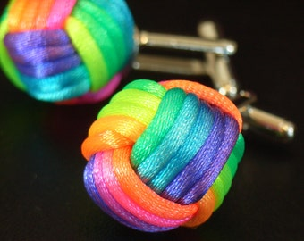 Rainbow Ball Cuff Links (for Men) - By Monkey Fist Knot
