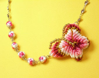 Chinese Knot Rainbow Red Butterfly Necklace, with Knot Balls and Hearts