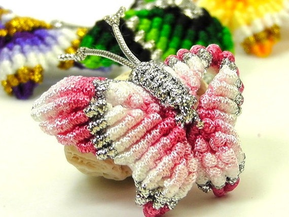 Chinese Knot Rainbow Butterfly Brooch Pin, Pink and Silvery