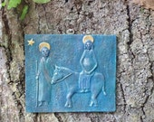 "Dark Blueish-Green Hanging Wall Relief ""Towards Bethlehem"" with Donkey Image"