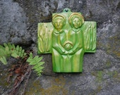Holly Family Cross - Wall Hanging Cross in Greenish Yellow