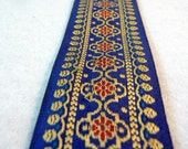 Navy Blue and Gold Embroidered fabric Trim- indian design-sari border-trim by the yard