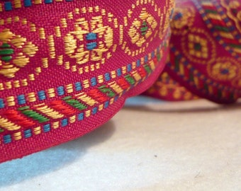 9 Yards Aubergine and Gold Embroidered fabric Trim- floral trim-sari border