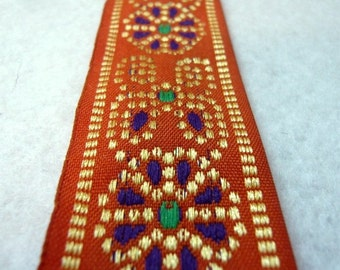 Orange embroidered cotton fabric trim -floral design-by the yard