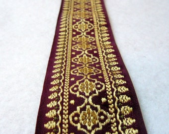 Maroon  and Gold Embroidered fabric Trim- indian design-sari border-1 yard