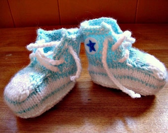 Converse Type Booties in baby blue, hand knit and made to order