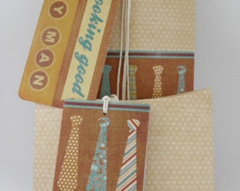 Tan gift wrap kit for men with trendy necktie graphics.