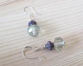 50-17 Little Girl Mint Green & Purple Earrings