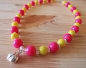 50-25 Little Girl's Pink & Yellow Ladybug Necklace
