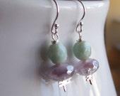 50-28 Mint and Lavender Little Girl Earrings