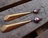 20-120 Large Purple Freshwater Pearls with Long Vintage Brass Teardrop Earrings