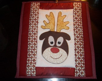 Rudolph The Red Nosed Reindeer Mini Quilt - Wall Hanging or Table decoration