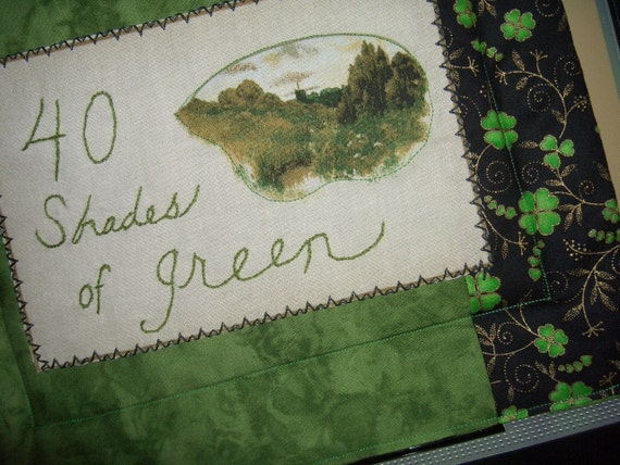 Irish mini quilt 40 shades of green!  Hand Embroidered mini can be hot pad or wall hanging