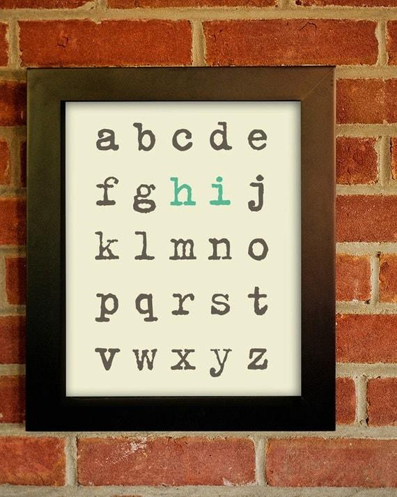 Alphabet (hello) Entryway Print.  8x10 Inspiring Photographic Print.
