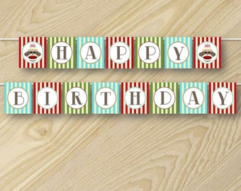 Sock Monkey Printable - Monkey Birthday - Printable Happy Birthday Banner - Custom Party Banners