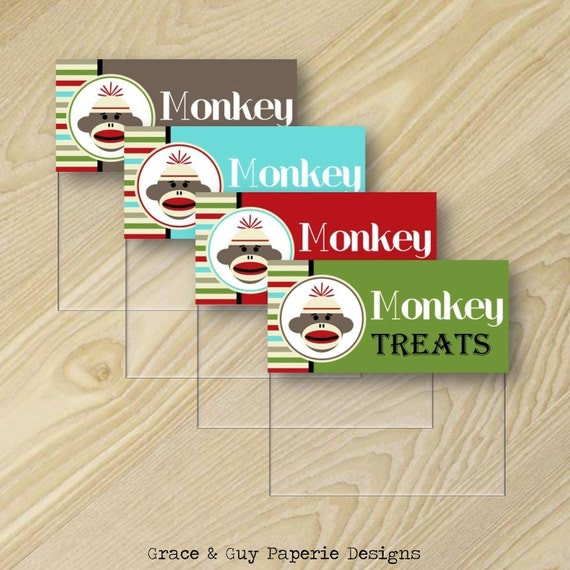 Sock Monkey Printable - Monkey Birthday - Treat Bag Toppers - Custom Party
