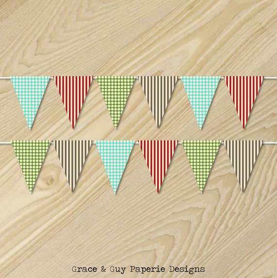 Sock Monkey Birthday - Paper Bunting Banner - Flag Bunting - Custom Pennant Flags