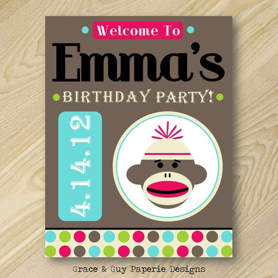 Printable Welcome Sign Design: Vintage Girly Sock Monkey Birthday Collection