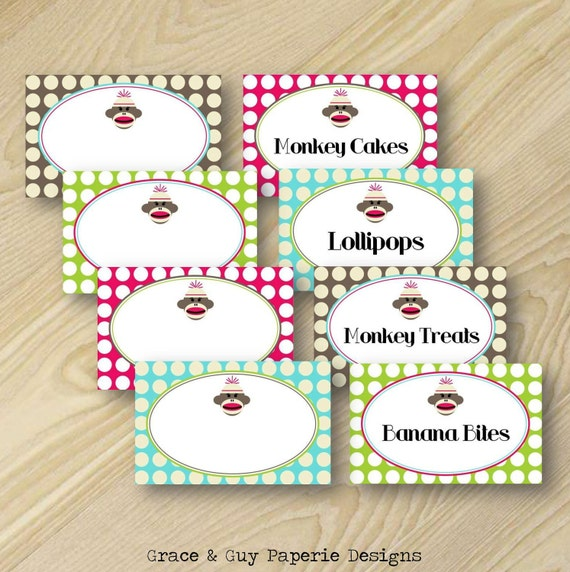 Printable Party Label Design: Vintage Girly Sock Monkey Birthday Collection