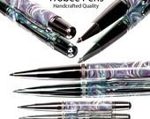 Top of the Line Ballpoint Pen Handmade quality twist pen Fordite acrylic, platinum, black titanium High quality writing pen