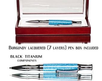 Ballpoint pen with superior twist mechanism Blue jean lapis polished to a brilliant shine Awesome look and feel to this special ball point