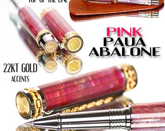 Handcrafted Pink Paua Abalone Shell Rollerball Pen Aston Leather Slip  Top of the Line Collector Grade Smooth Writing Instrument Pen Shop