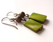 Chartreuse Lime Green Shell and Brass Earrings
