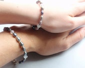 Mother Daughter Bracelets Freshwater Pearl Mother Daughter Jewelry Mothers Day Gray Purple Mom