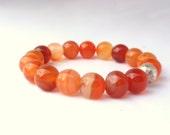 Agate Tangerine Orange Stacking Stretch Bracelet