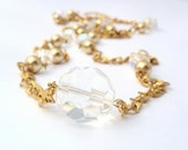 Long Necklace, Gold Tone, Crystal Glass, Gold Tone Glass Pearl