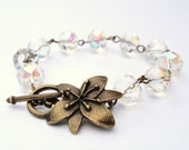 Brass Jewelry Crystal Glass Bracelet Brass Flower