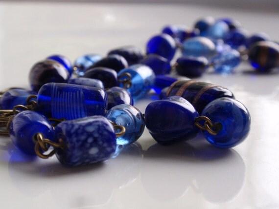 True Blue Long Glass Necklace