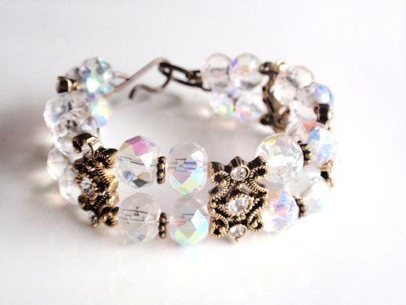 SALE WAS 24.00 NOW 12.00 Crystal Glass Cuff Bracelet with Swarovski and Antiqued Brass Gold Tone Spacers, Bridal