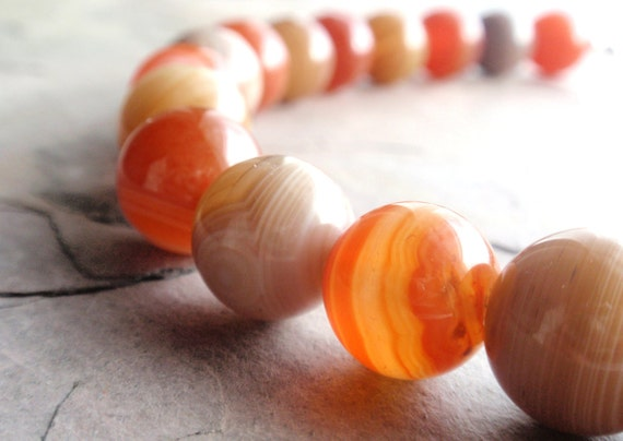 Tangerine Orange Amber Yellow Tan Agate Round Necklace Sterling Clasp