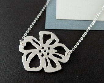 Hibiscus Necklace, Flower Necklace, STERLING SILVER CHAIN