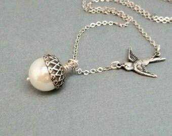 Acorn Necklace Silver Charm Bird Pendant Acorn Jewelry Pearl Bridesmaid Gift