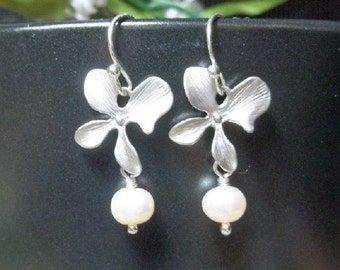 Orchid Earrings - Freshwater Pearl Earrings, Flower Dangle Earrings, Silver Orchid Earrings, Bridesmaids Earrings, Bridal Bridesmaids Gifts