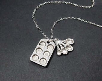 Bakers Necklace, Measuring Spoons Muffin Pan, STERLING SILVER CHAIN