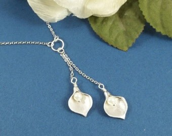White Gold Calla Lily Necklace
