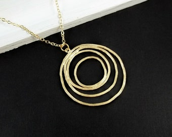 Gold Necklace - Golden Ripples - GOLD FILLED CHAIN