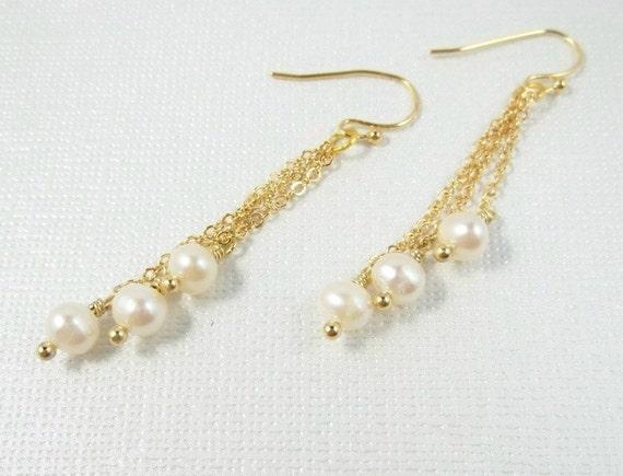 Freshwater Pearl Earrings Gold by LadyKJewelry on Etsy