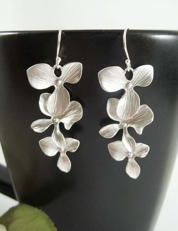 Wedding Jewelry - Orchid Earrings - White Gold - Wedding - Bride Bridal Bridesmaids Gift